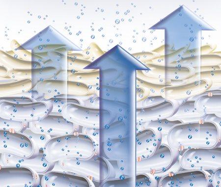 Minh họa về quá trình các nhân tố cân bằng độ ẩm tự nhiên bốc hơi ra khỏi da.